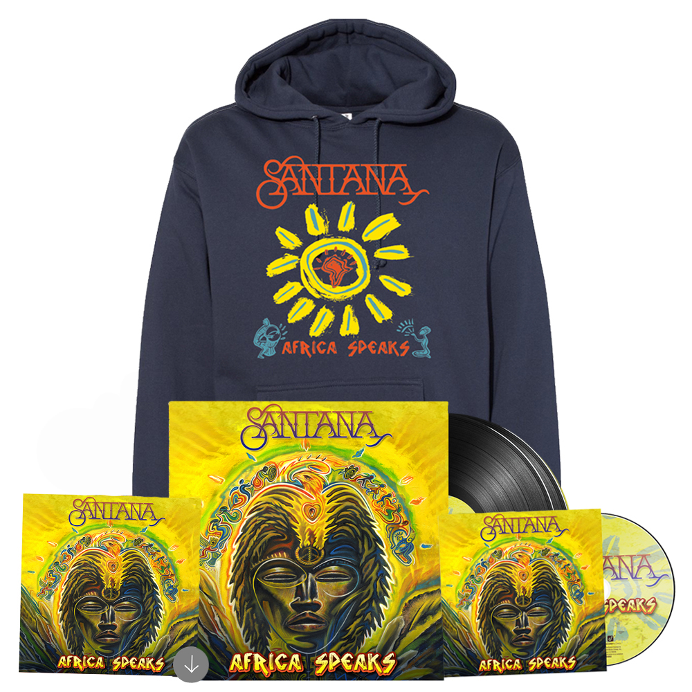 Africa Speaks Slate Blue Hoodie + 2xLP Black Vinyl/CD/Download (optional)