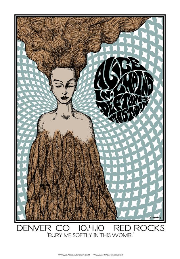 - Alice In Chains, Deftones, MASTODON 'BlackDiamondSkye Tour' Rare Print (RED ROCKS 2010)