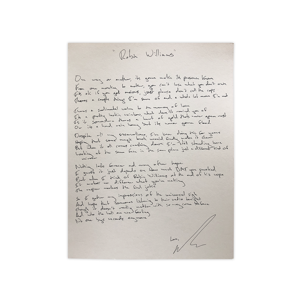 Handwritten, Signed and Personalized Lyric Sheets (Limited)