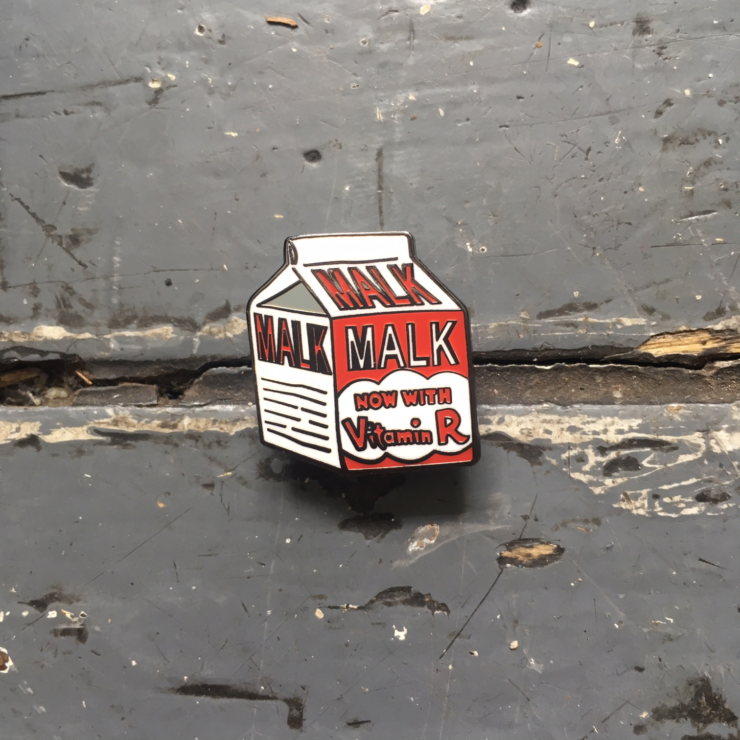 MALK Carton, Now With Vitamin R! enamel pin