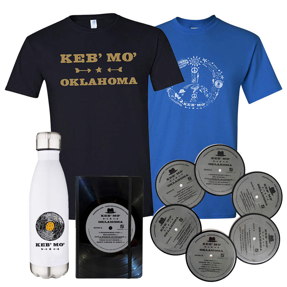Merch Select Bundle: Stainless Steel Vacuum Insulated Bottle + Tee Shirt + Vinyl Notebook + Vinyl Coasters
