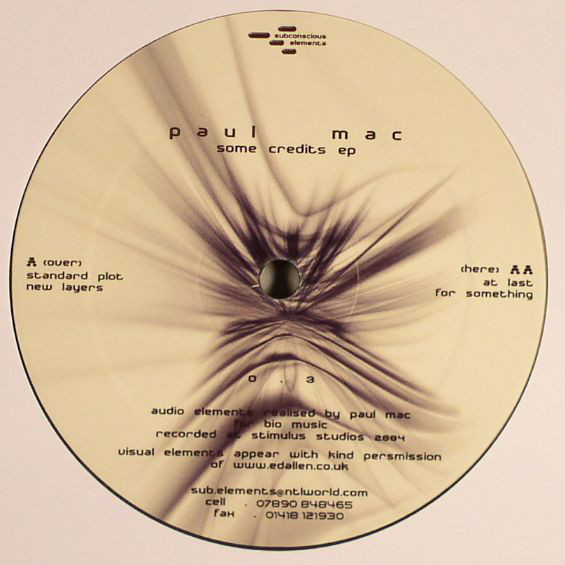Paul Mac – Some Credits EP (Subconscious Elements)