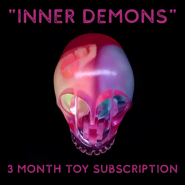 INNER DEMONS RESIN SKULLS + One Inch Matching Buttons + Set Of P+P Trading Cards - 3 MONTH TOY SUBSCRIPTION
