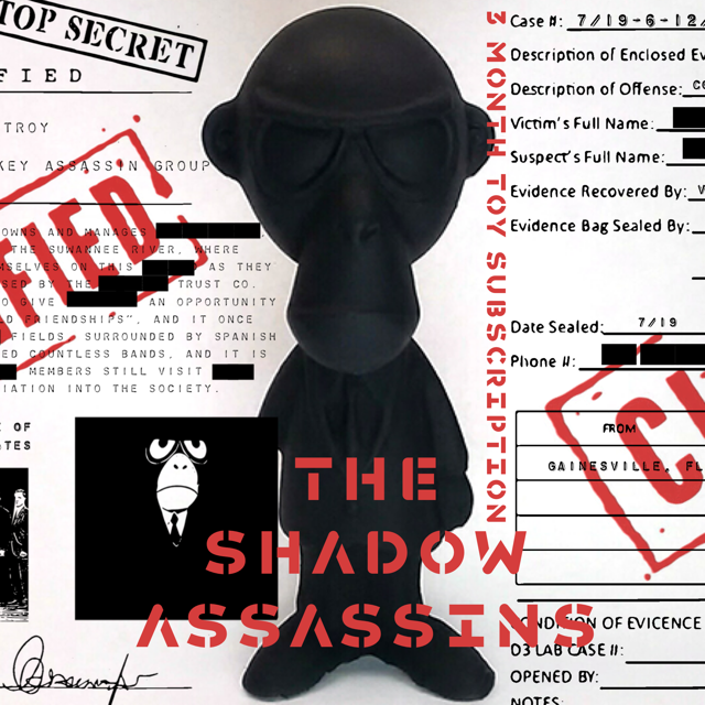 THE SHADOW MONKEY ASSASSINS + Etched Black Metal Member Card + Top Secret Dossier + A Set Of P+P Trading Cards- 3 MONTH TOY SUBSCRIPTION