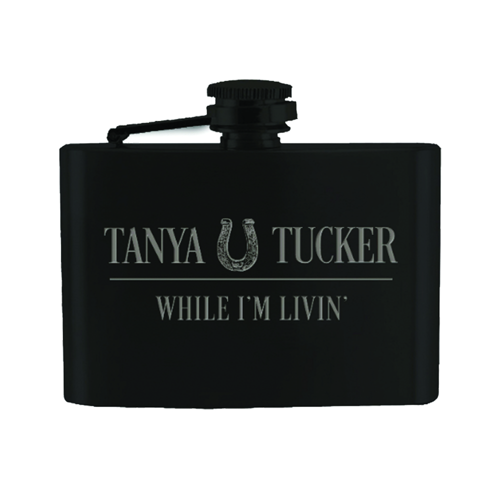 Black Engraved Stainless Steel Flask + Vinyl/CD/Album Download (optional)