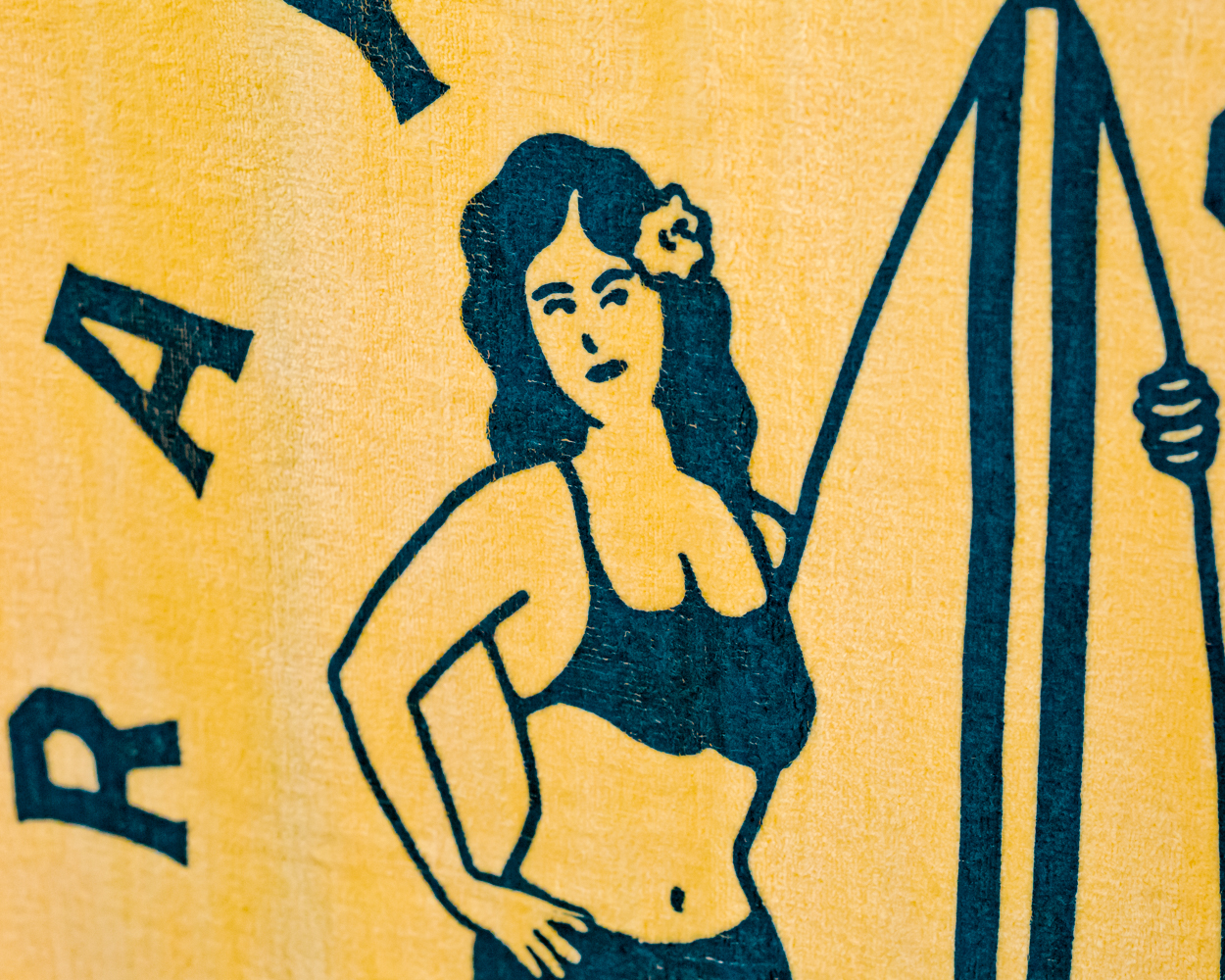 Yellow Surfer Beach Towel