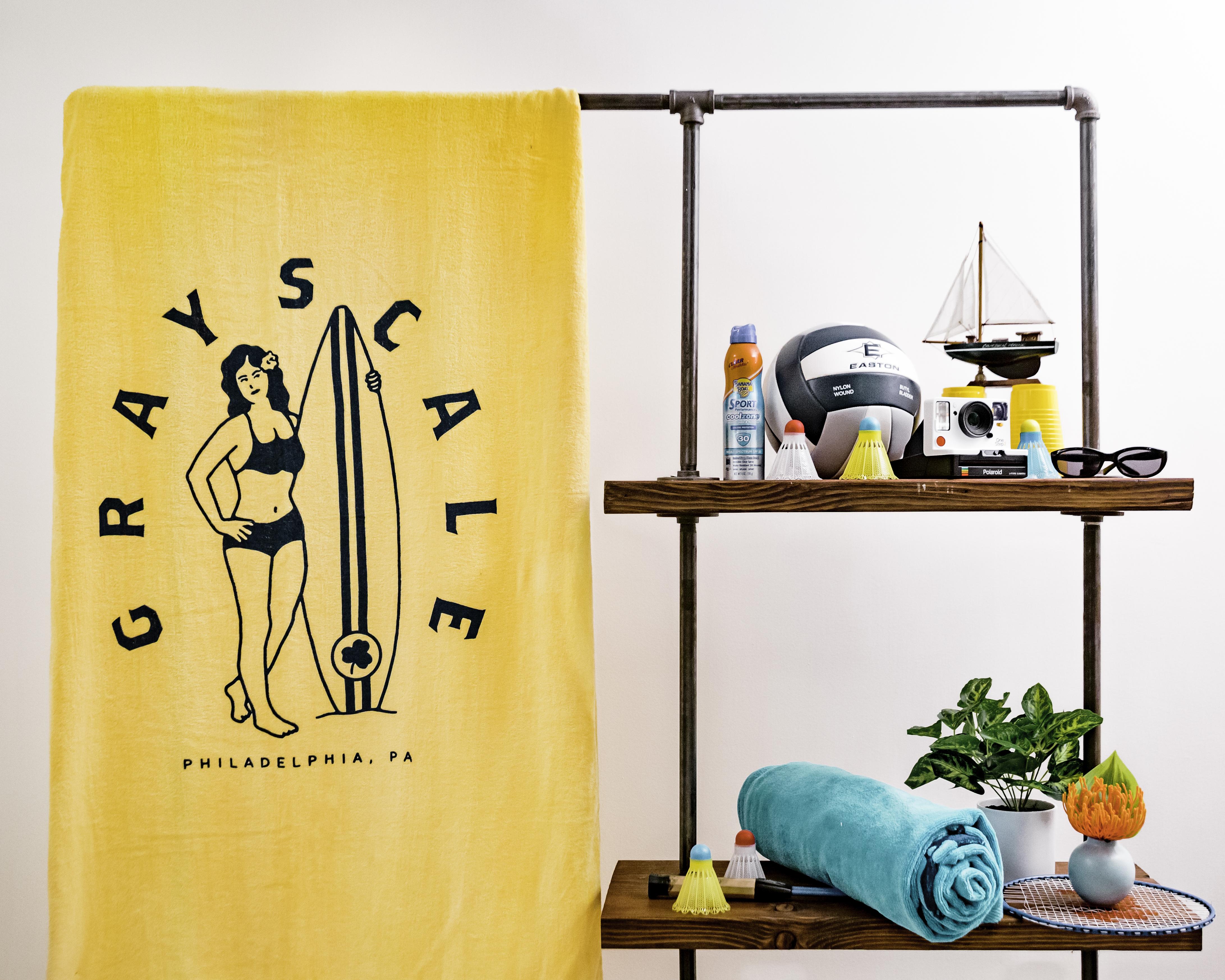 Yellow Surfer Beach Towel