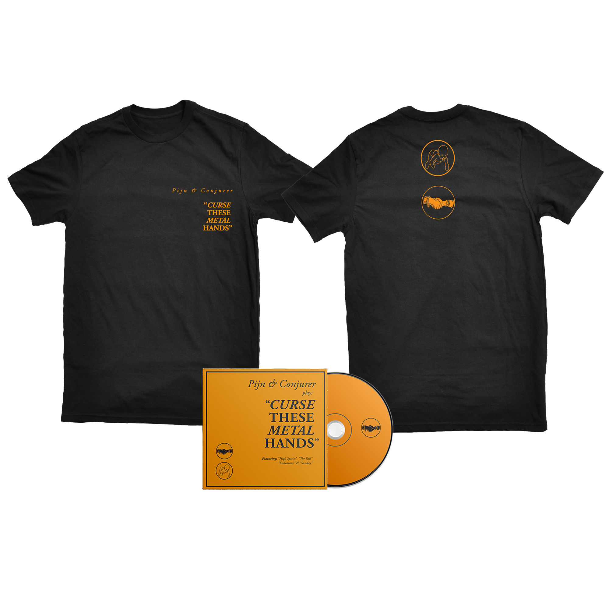 Pijn & Conjurer - Curse These Metal Hands handshake shirt + CD