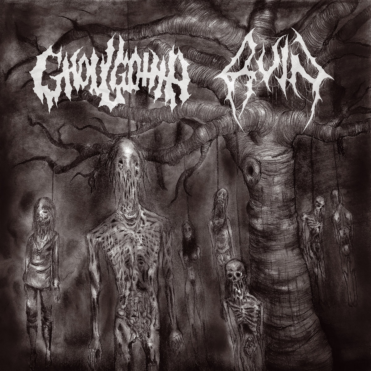 GHOULGOTHA / RUIN - Churning in Vertebraes / Becoming Disease