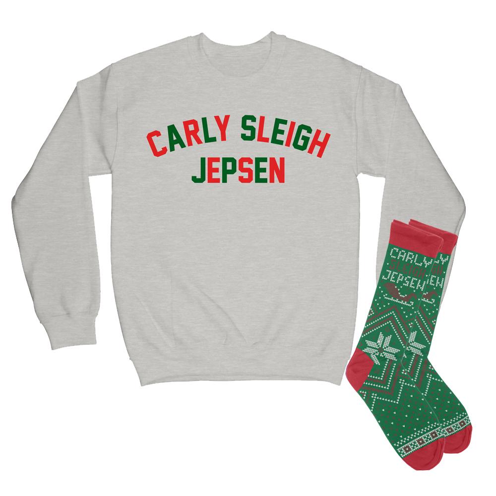Carly Sleigh Jepsen Varsity Block Sweatshirt (green/red) + Green Socks