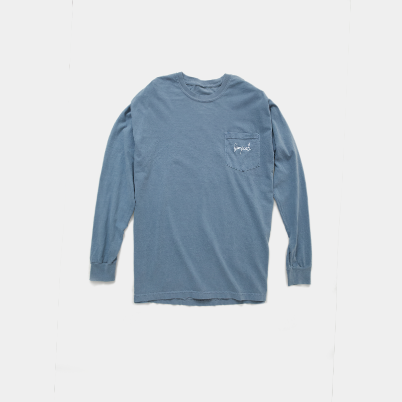 Washed Sapphire Script Long Sleeve