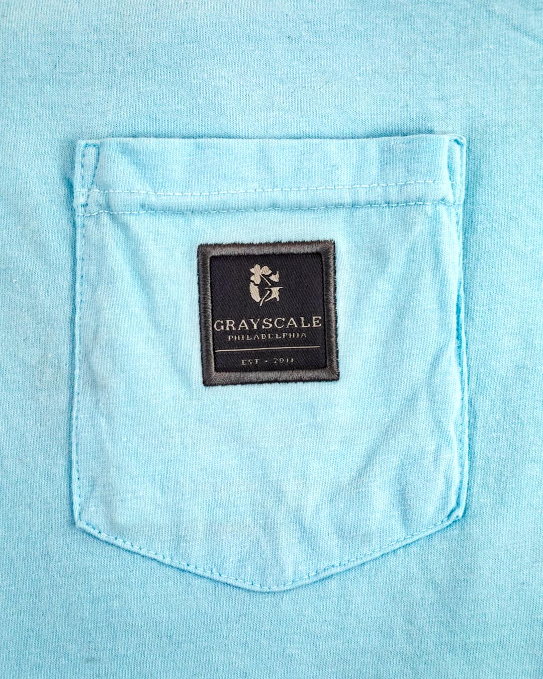 Cadet Blue Signature Label Pocket Tee