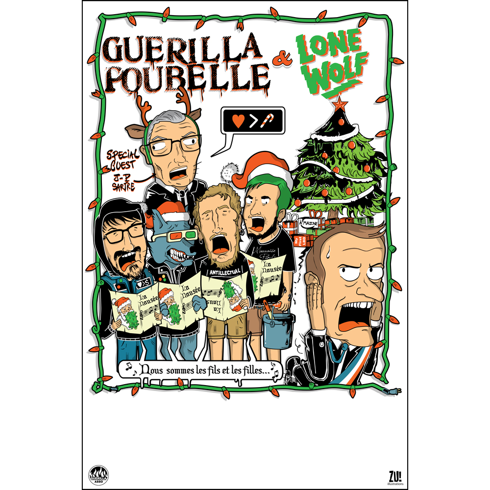 Guerilla Poubelle + Lone Wolf - poster xmas tour 2019