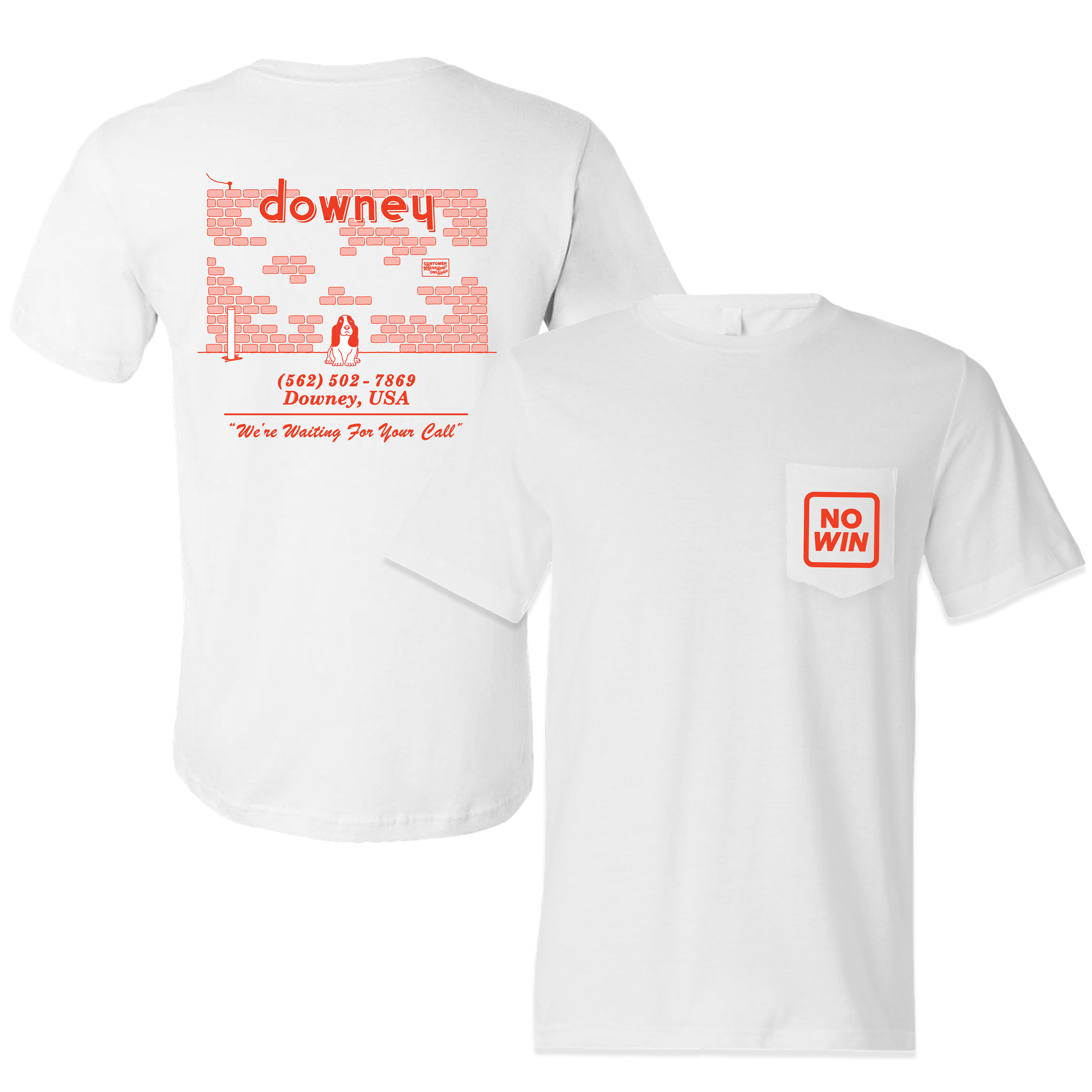 NO WIN - We're Waiting For Your Call White Pocket T-Shirt