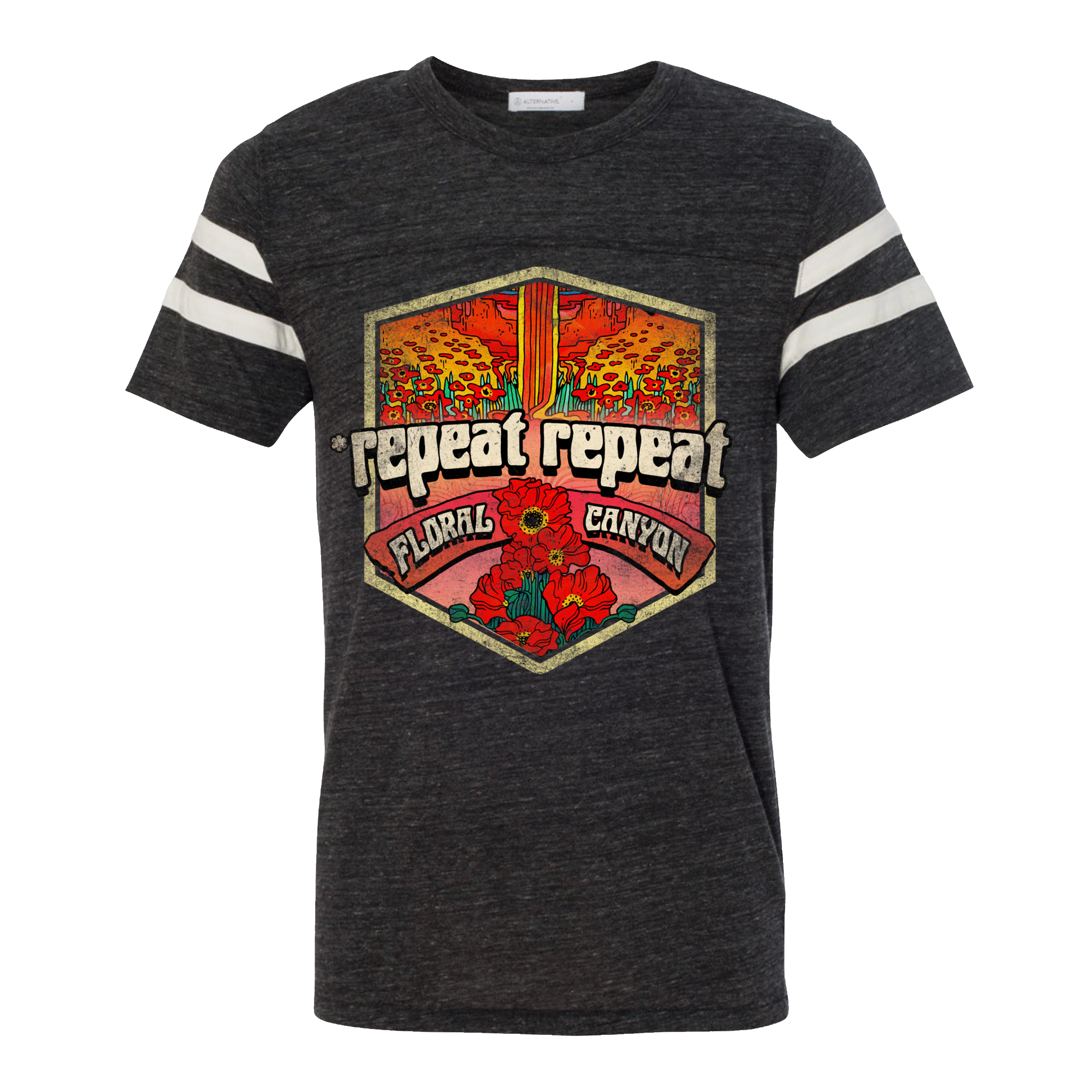*repeat repeat - Floral Canyon Eco Black & Eco Ivory Football T-Shirt
