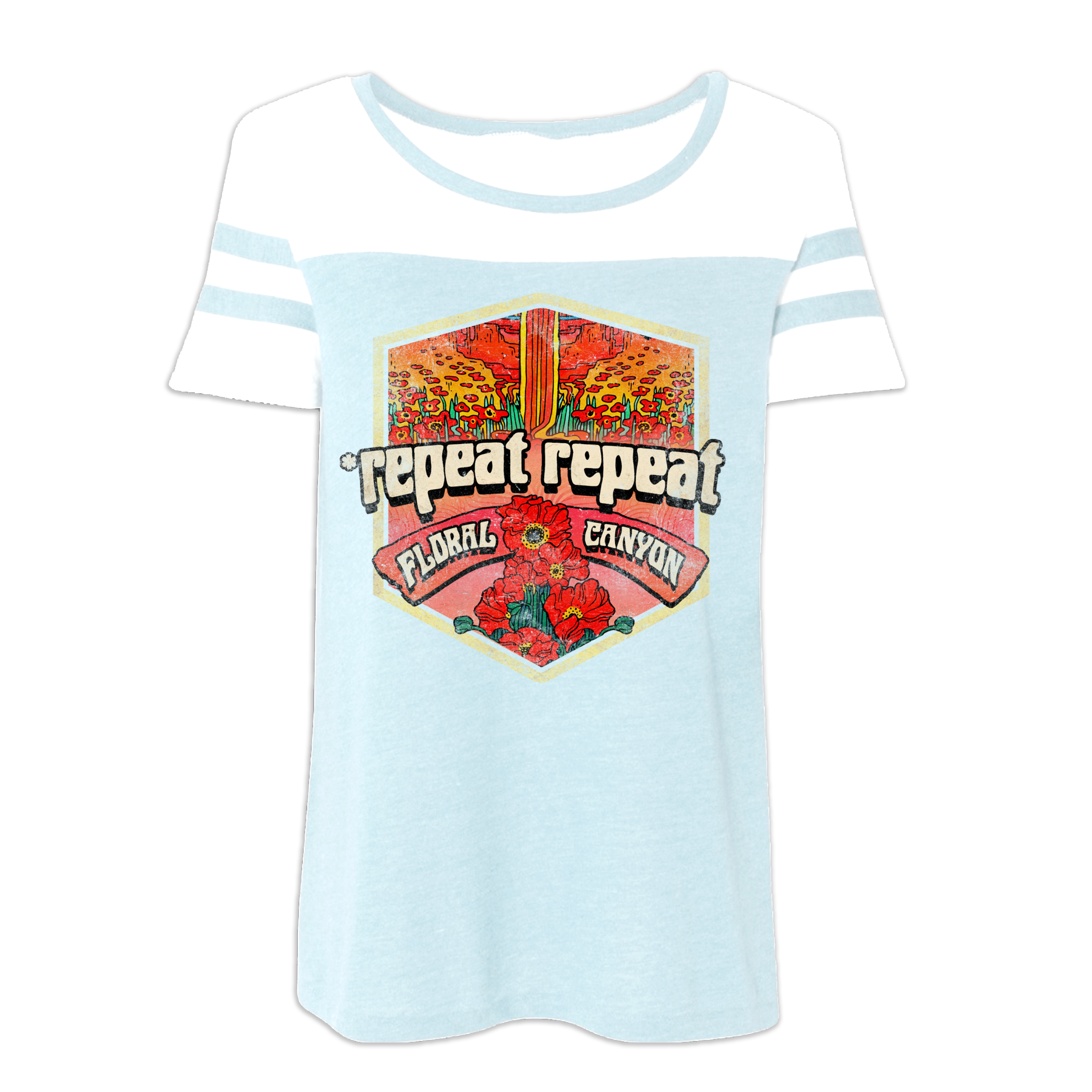 *repeat repeat - Floral Canyon Blue Sky & White Vintage Jersey T-Shirt