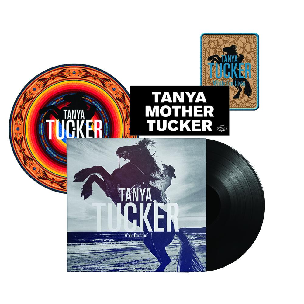 "Black Vinyl LP + Turntable Mat (optional) + Woven Patch (4"" x 3"") + Bumper Sticker"