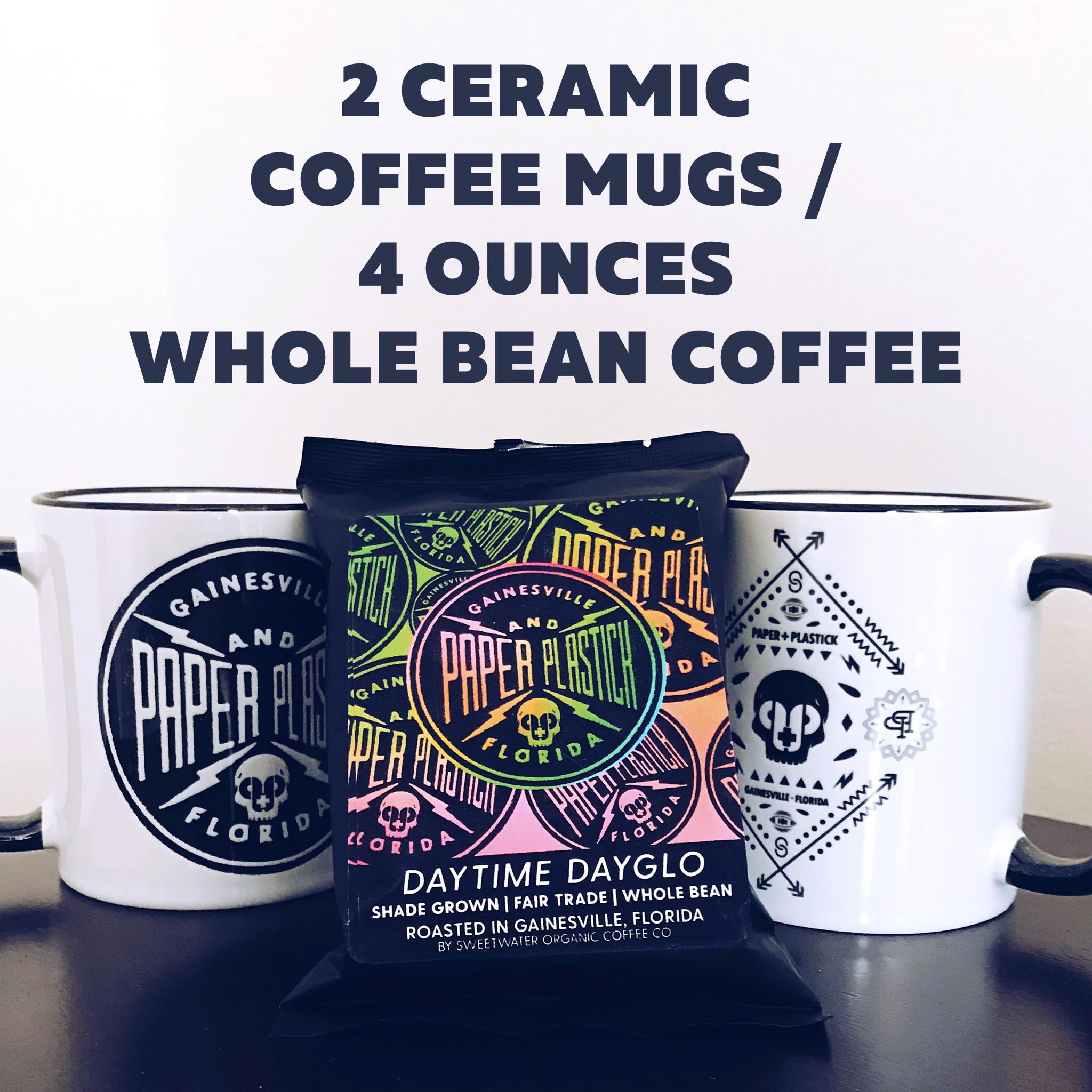 2 Ceramic Coffee Mugs + 4 Ounce Whole Bean Coffee