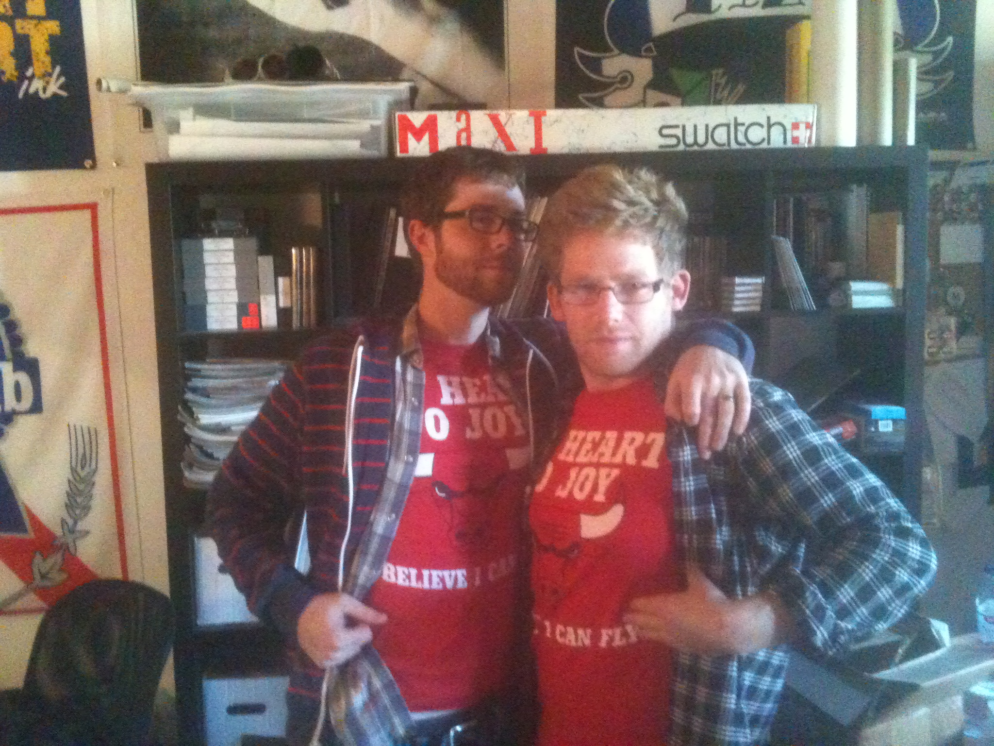 Kevin and Seth, who founded Topshelf Records in 2006, wearing the same My Heart to Joy band t-shirt back in 2009.