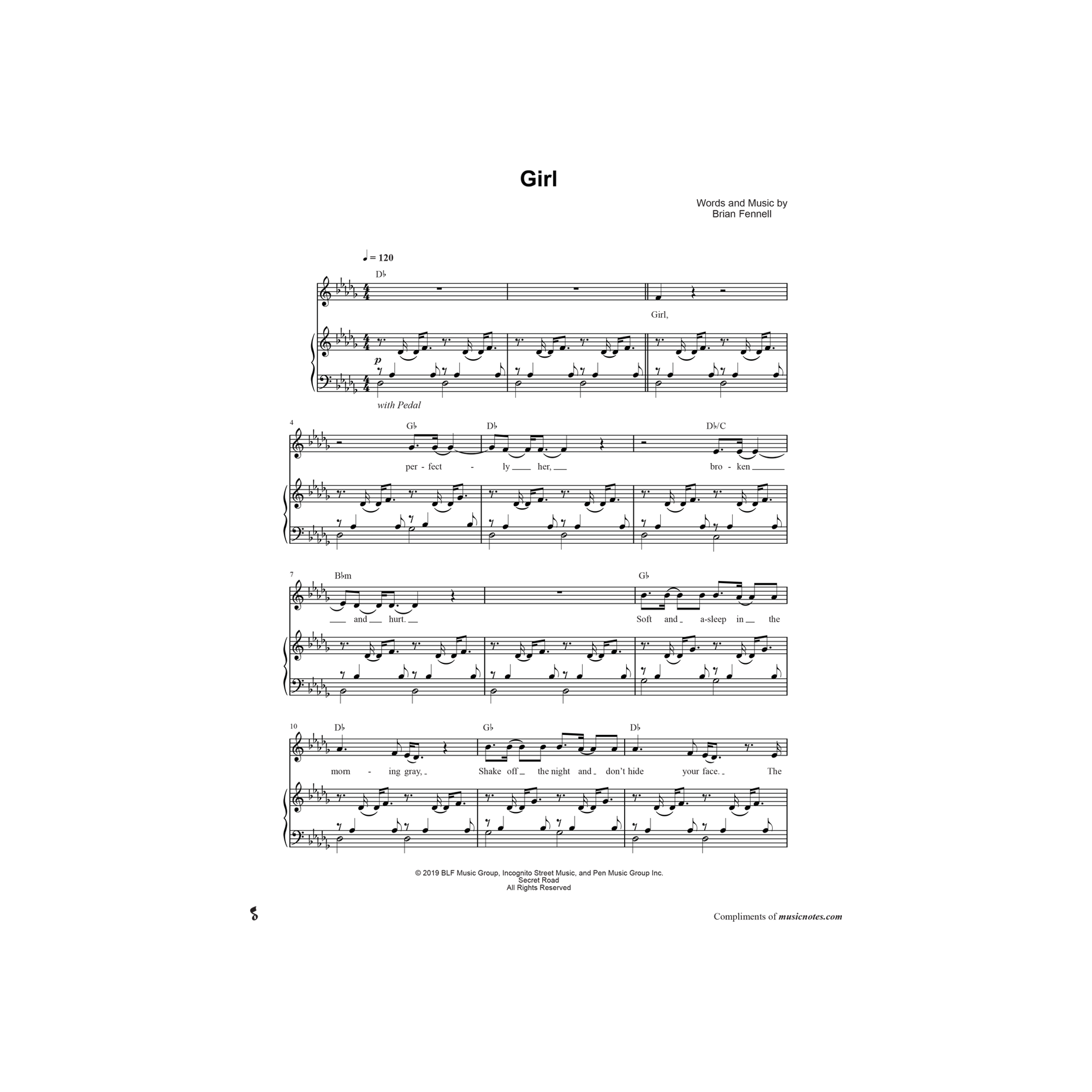 Girl - Piano Sheet Music