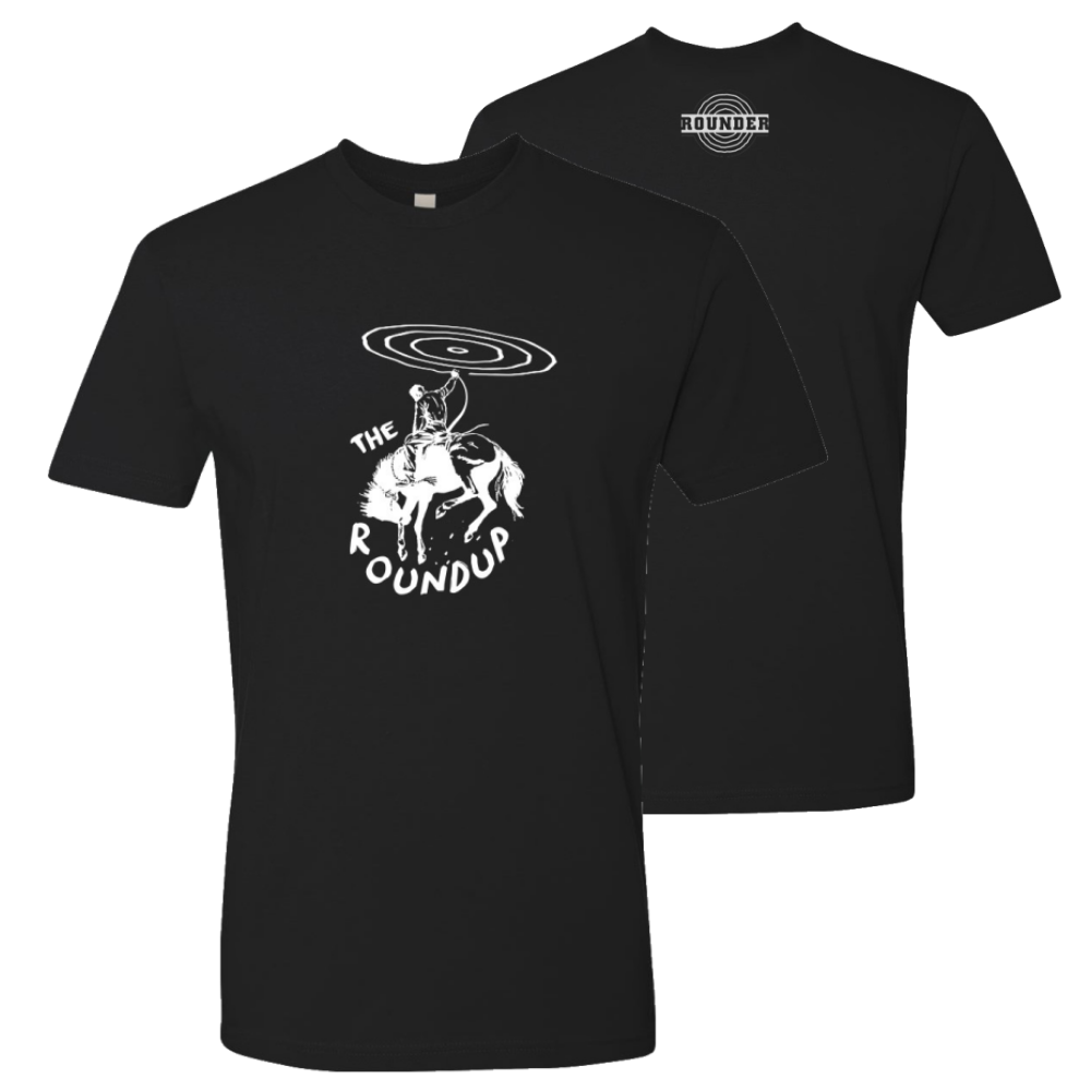 """The Roundup"" Rounder Records black tee shirt (unisex)"