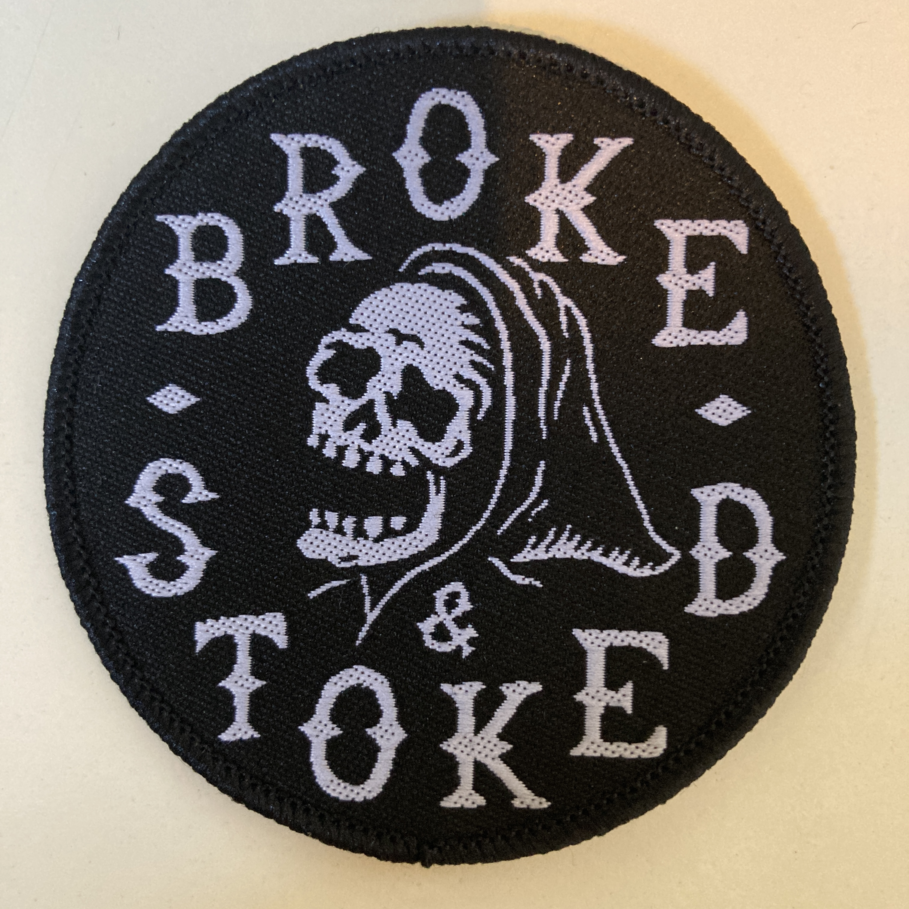 Broke and Stoked - Patch Skull