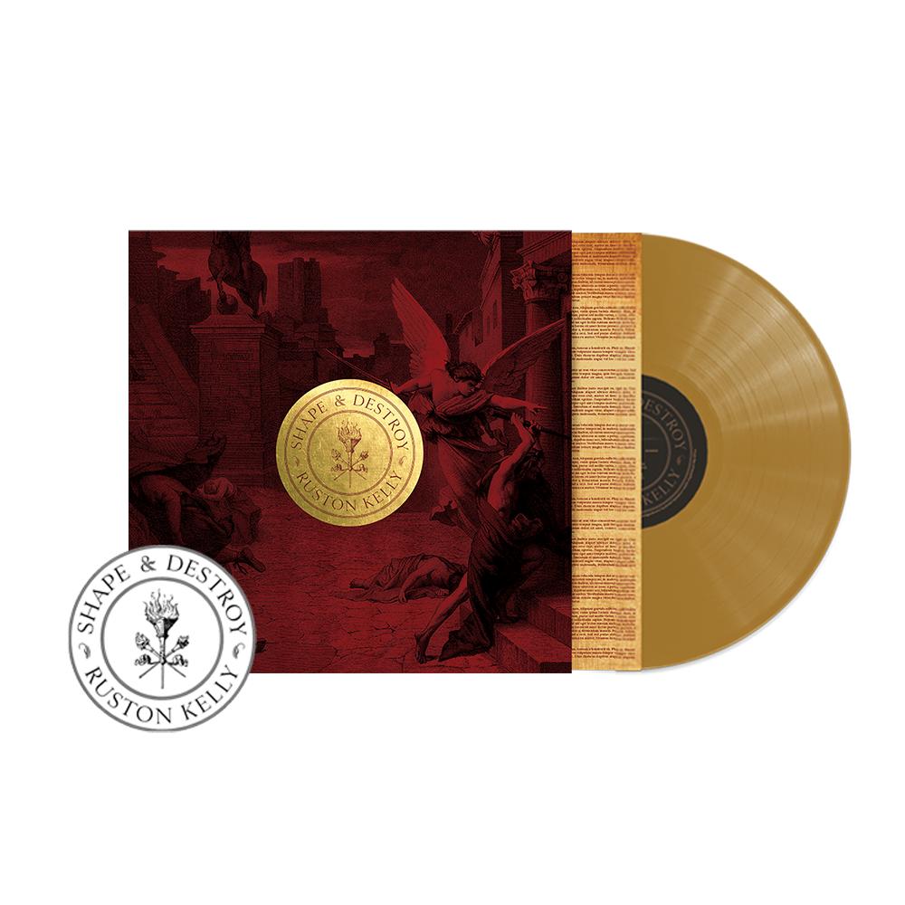 SIGNED or Unsigned Gold Shape & Destroy Vinyl LP + Transfer sticker