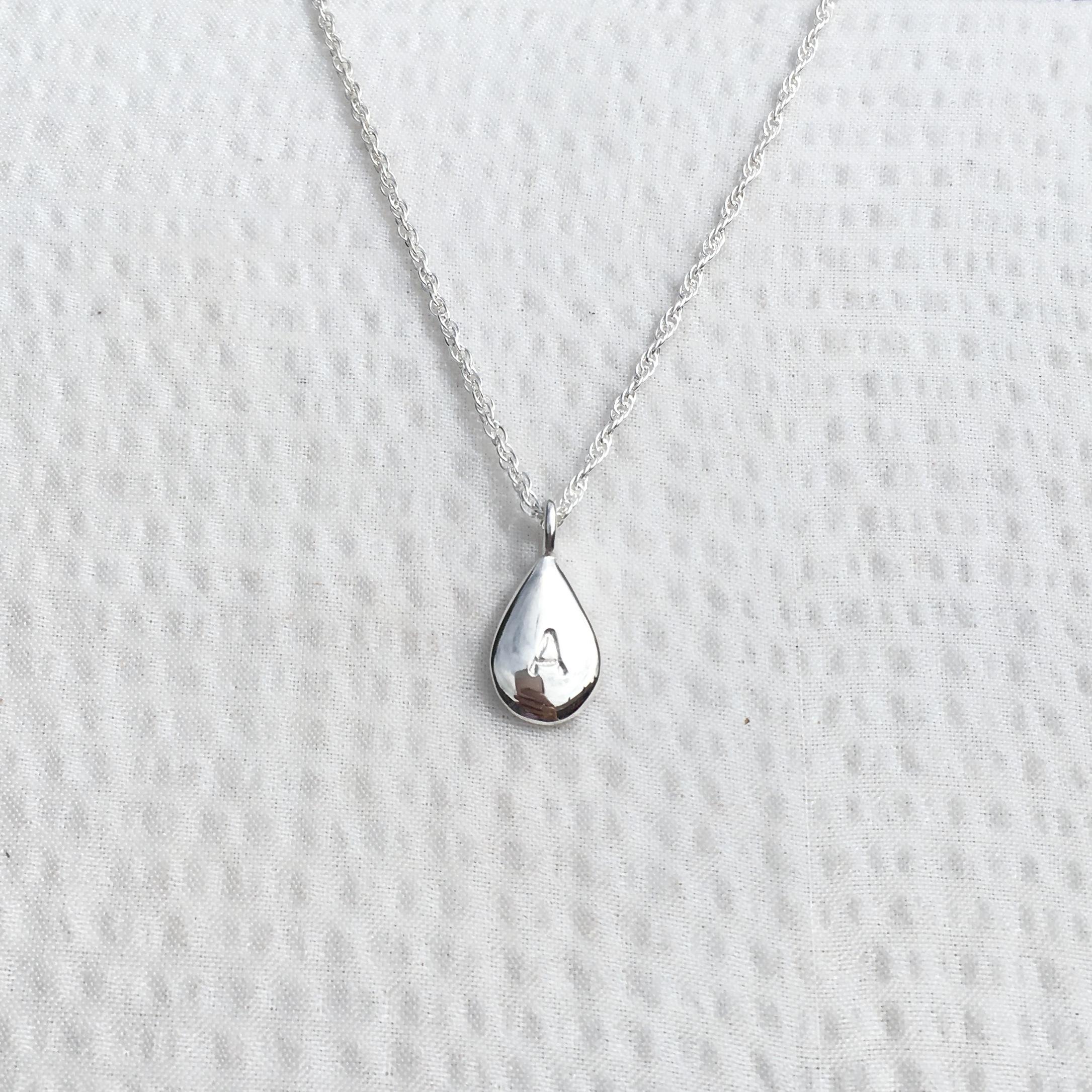Solid Silver Drop Necklace