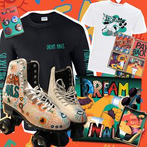 Dream Nails - Corporate Realness Megabundle (ROLLER BOOTS, CD or Vinyl, S/S Shirt, L/S Shirt, Signed Zine, Tape, Badges and Postcards)