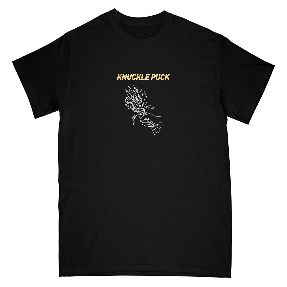 Flower Hand Tee (black w/ yellow ink)