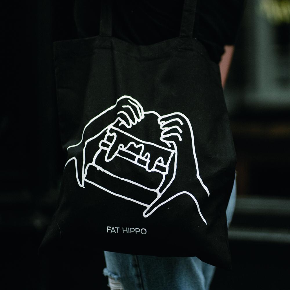 Hippo Tote Bag (Black)