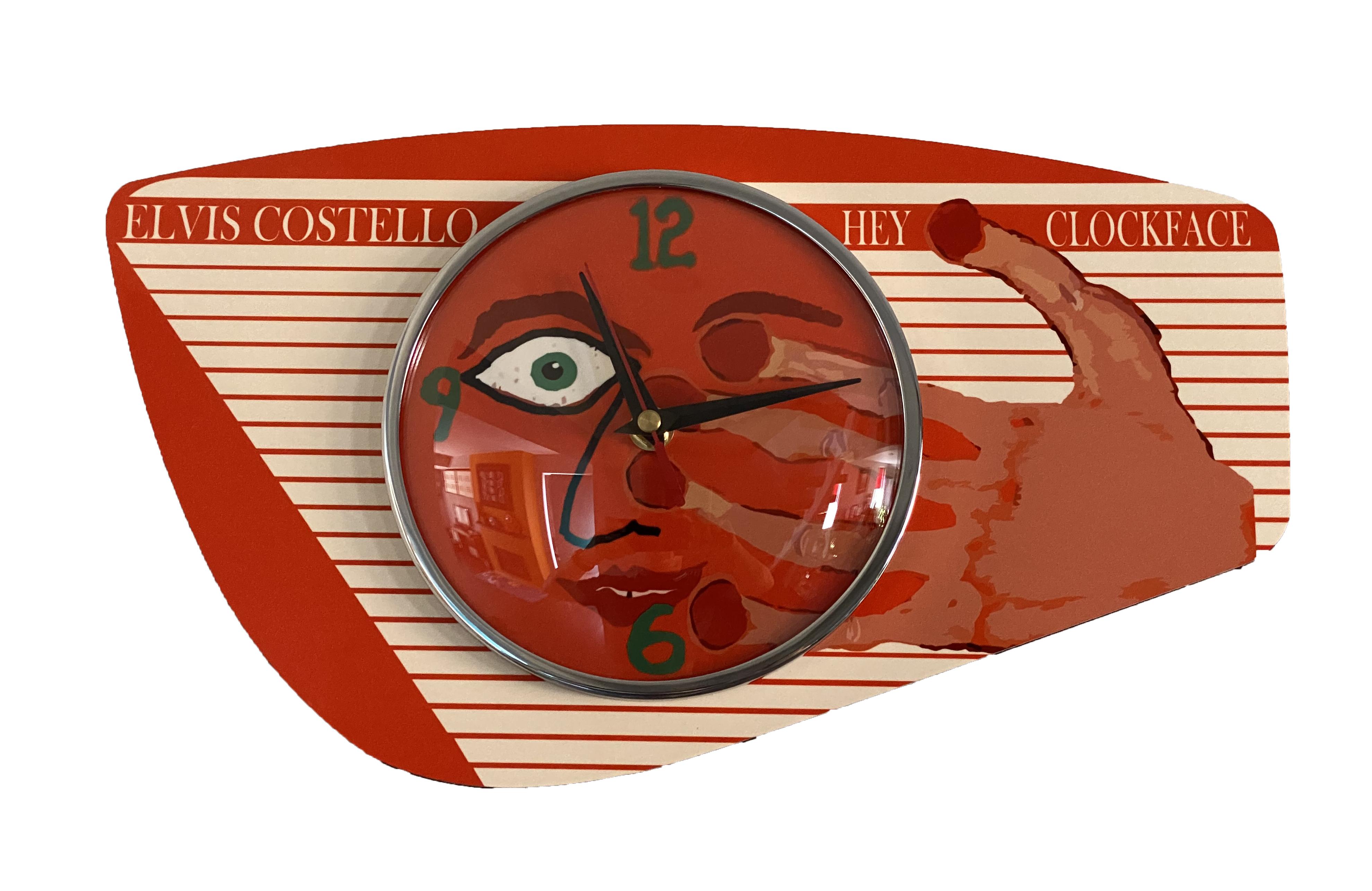 Handmade Hey Clockface Tangerine Orange Formica Wall Clock from Royale - 1950s French Atomic Retro style + Hey Clockface 2xLP/Vinyl/CD/Download (optional)
