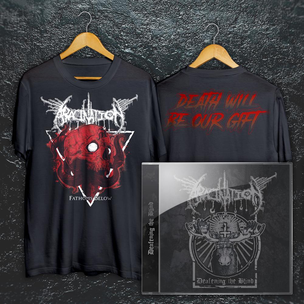 """Fathoms Below"" T-Shirt + ""Deafening the Blind"" DEMO EP Bundle:"