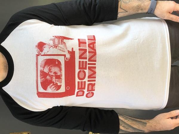 Decent Criminal Baseball T-shirt (Red Print)