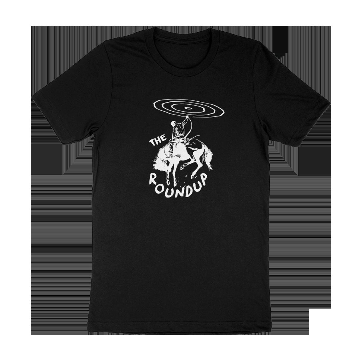 """The Roundup"" Rounder Records black tee shirt (unisex)"