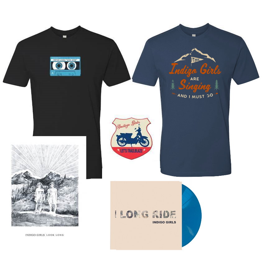 "Long Ride / Look Long Acoustic SIGNED Turquoise Blue 7"" + Organic Tee Shirt Bundle"