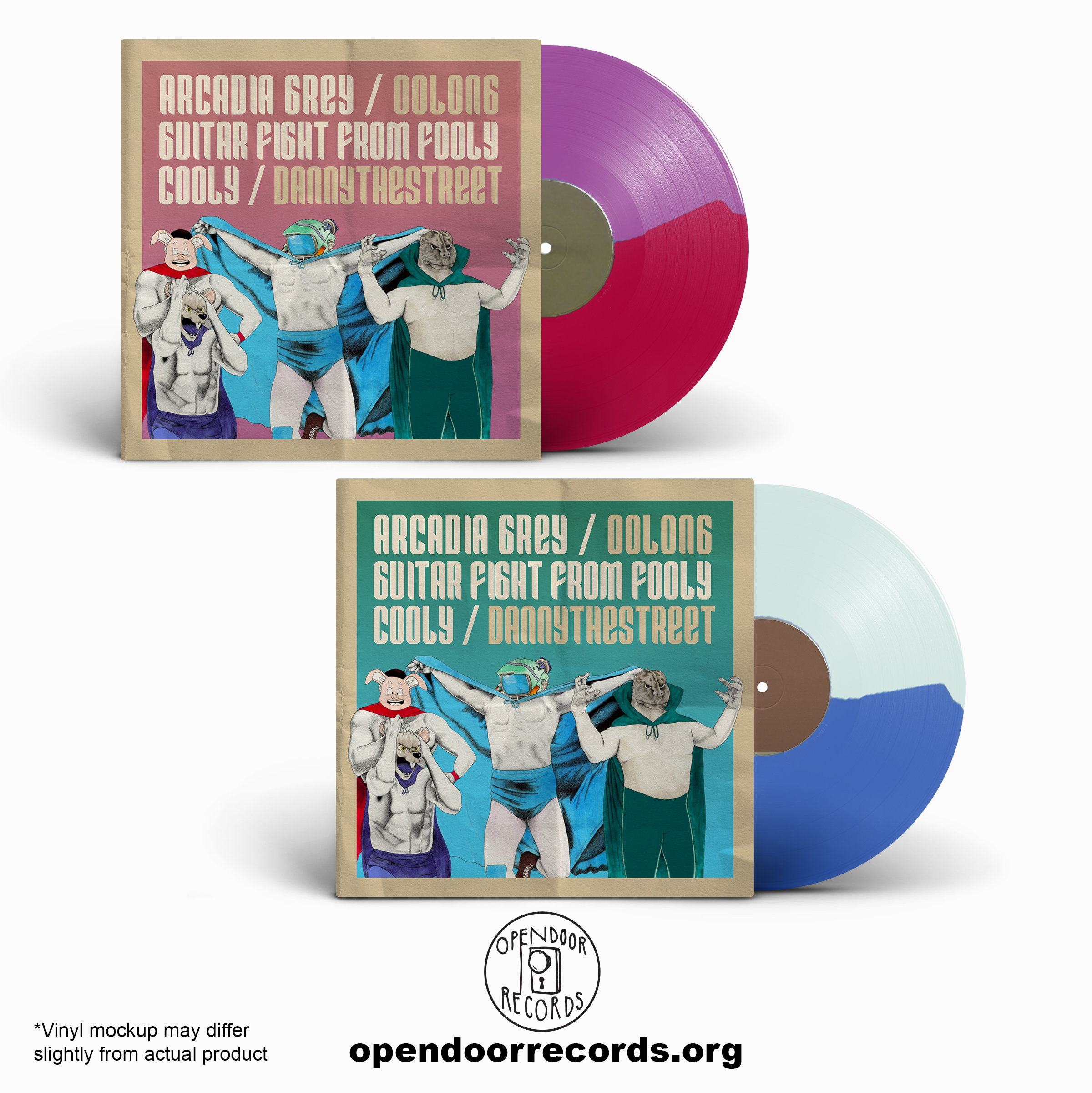 Arcadia Grey, Oolong, Guitar Fight From Fooly Cooly, dannythestreet - Fatal 4 Way (Split)  LP