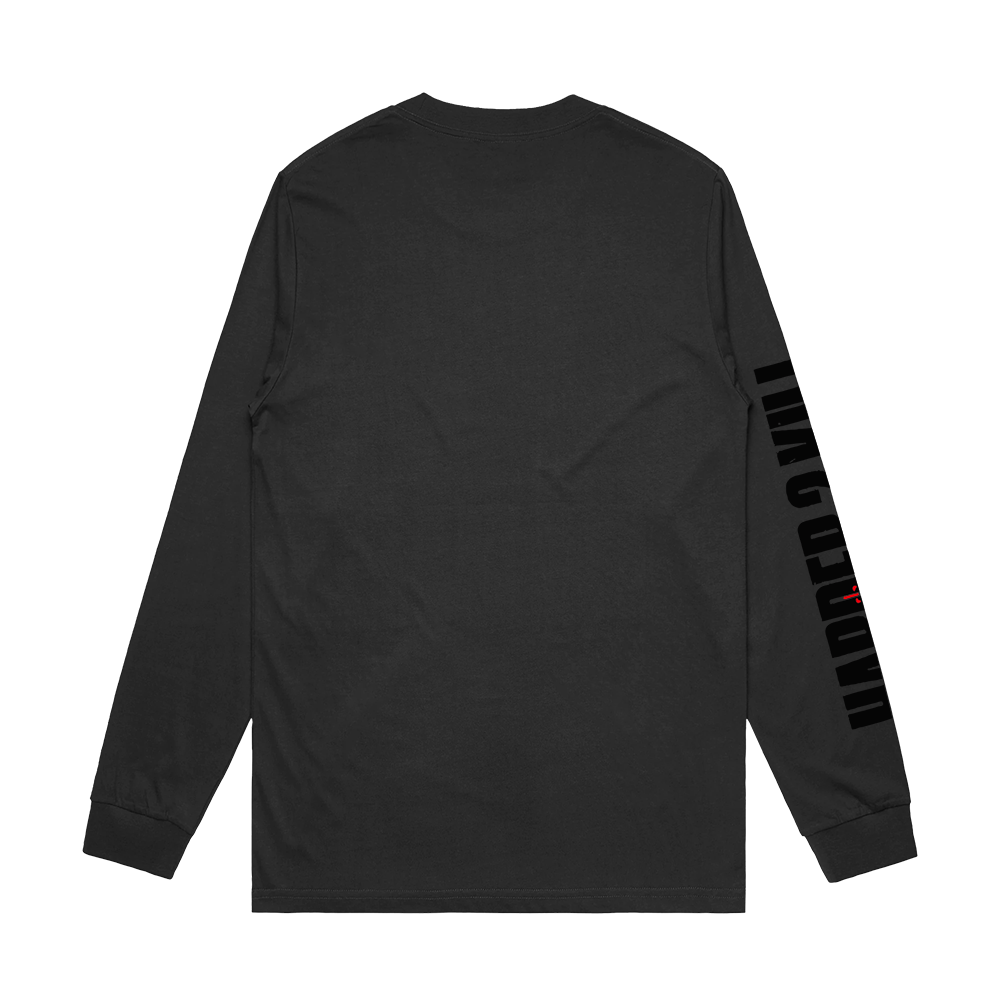HARDER 2 KILL X HANDCHOPPA LONGSLEEVE TEE - CHARCOAL