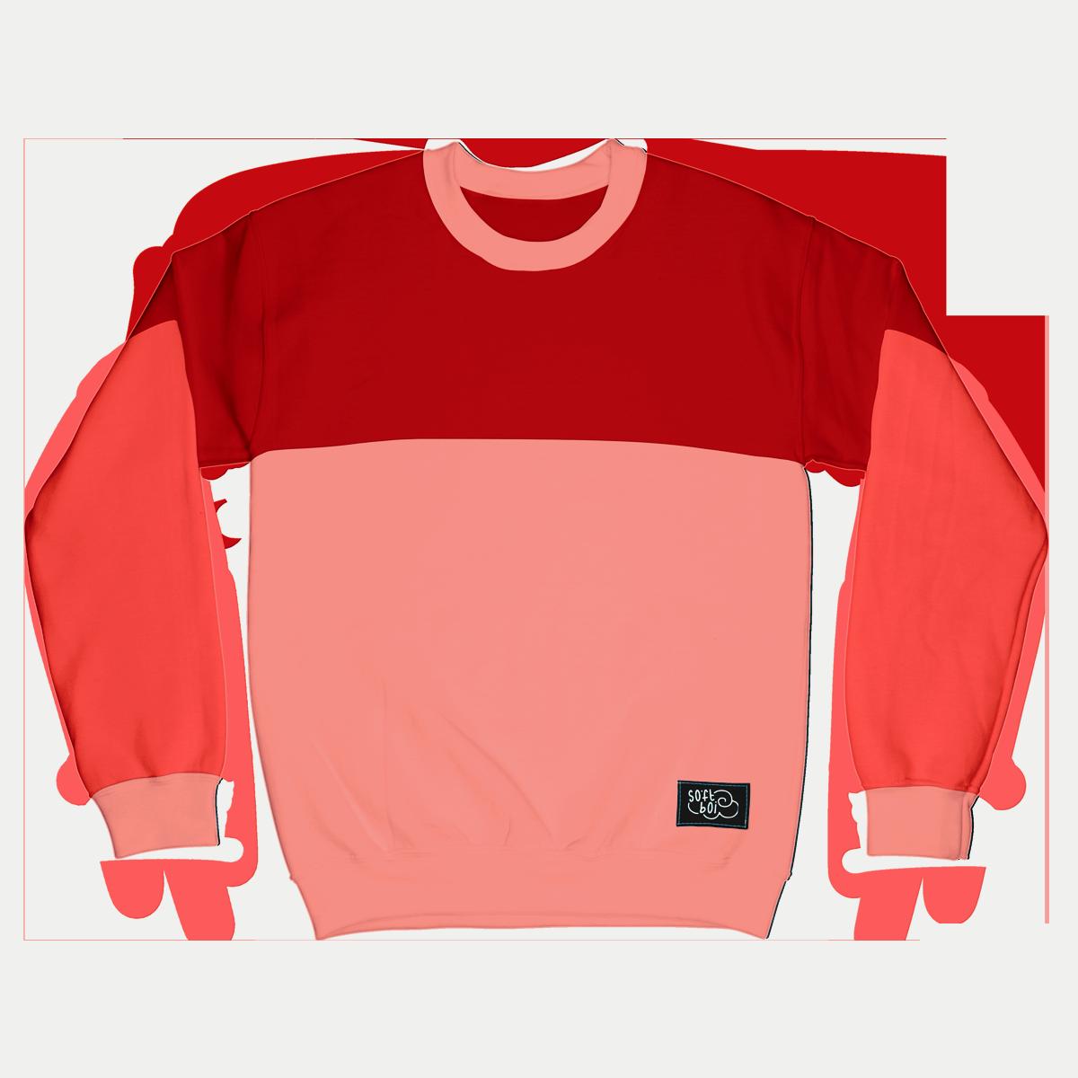 Colorblock Crewneck - Red