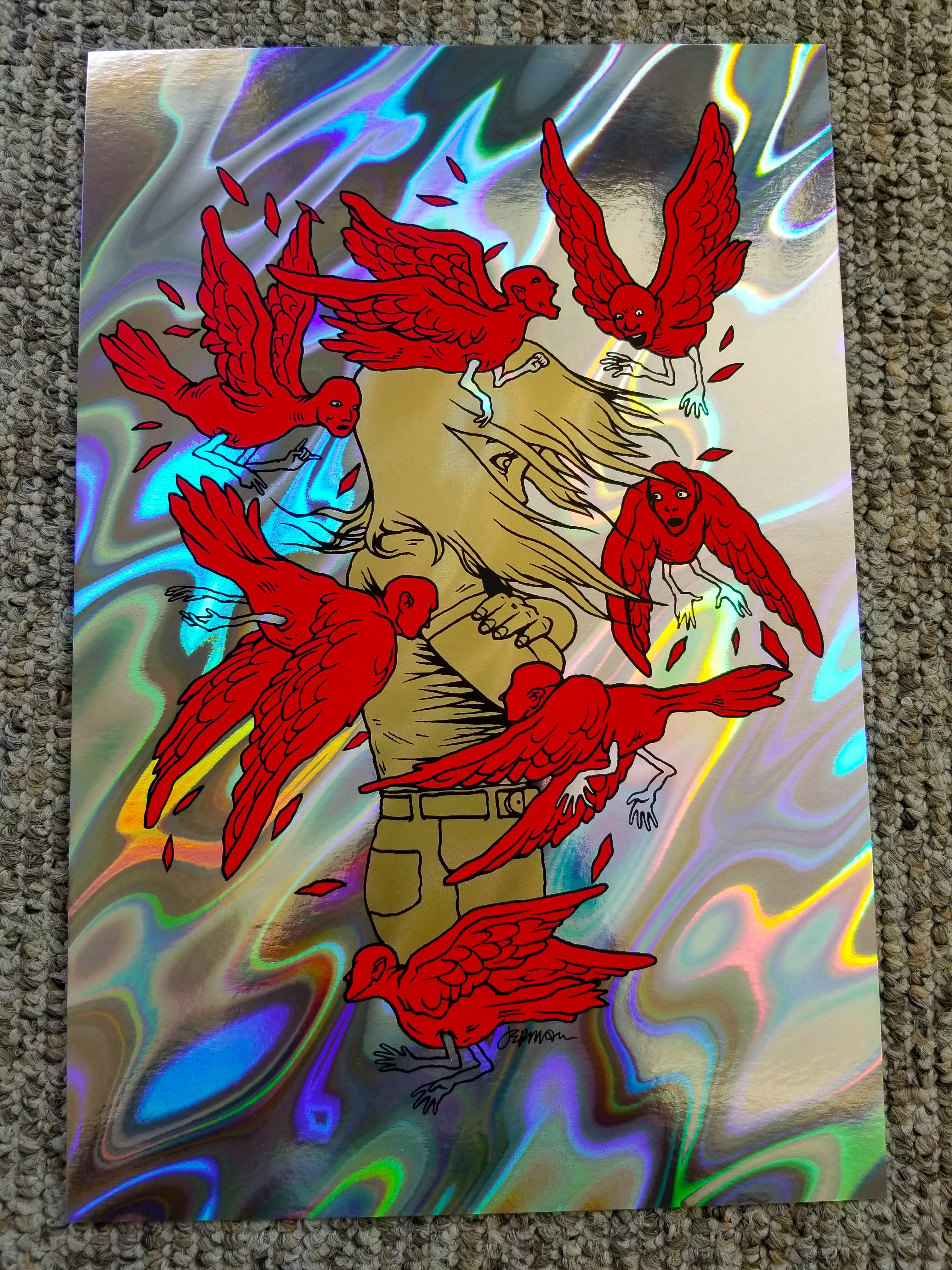 - 'Troubles On My Mind...' Holographic LAVA FOIL Mini Art Print (s/n Edition of 30) -