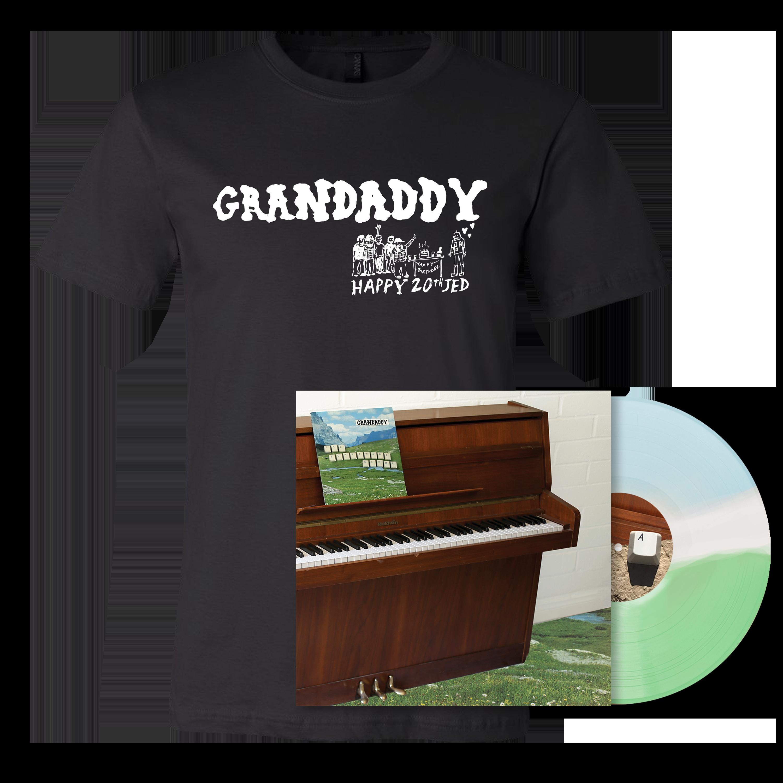 Grandaddy - The Sophtware Slump ..... on a wooden piano - Tri-Stripe Vinyl + Black Shirt Bundle