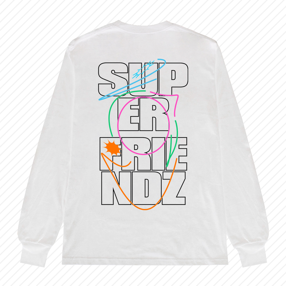 SUPER FRIENDZ WHITE LONG SLEEVE TEE