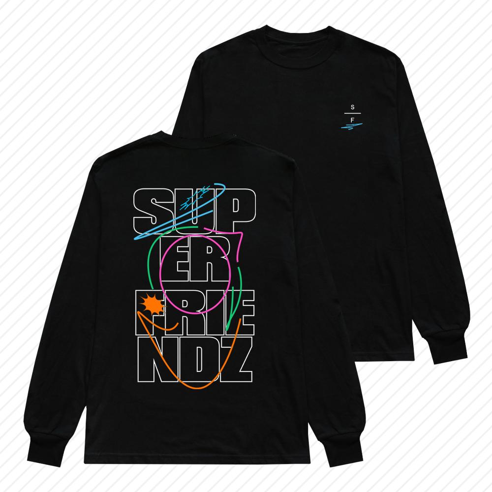SUPER FRIENDZ BLACK LONG SLEEVE TEE