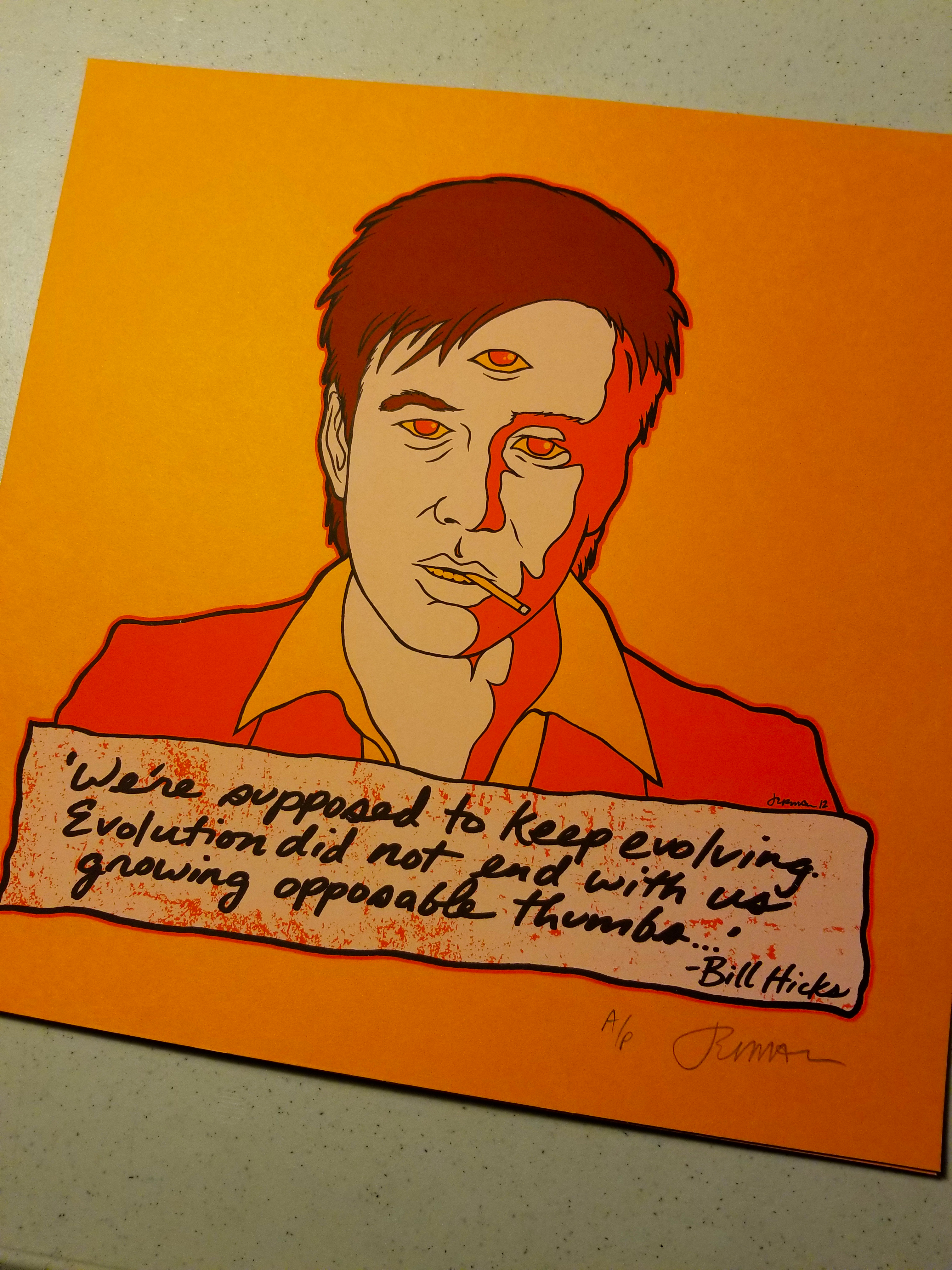 - Bill Hicks 'TEACHER' Mini Print 'EVOLUTION' (Orange Cream, Mustard, & Sparkle Foil Variants) -