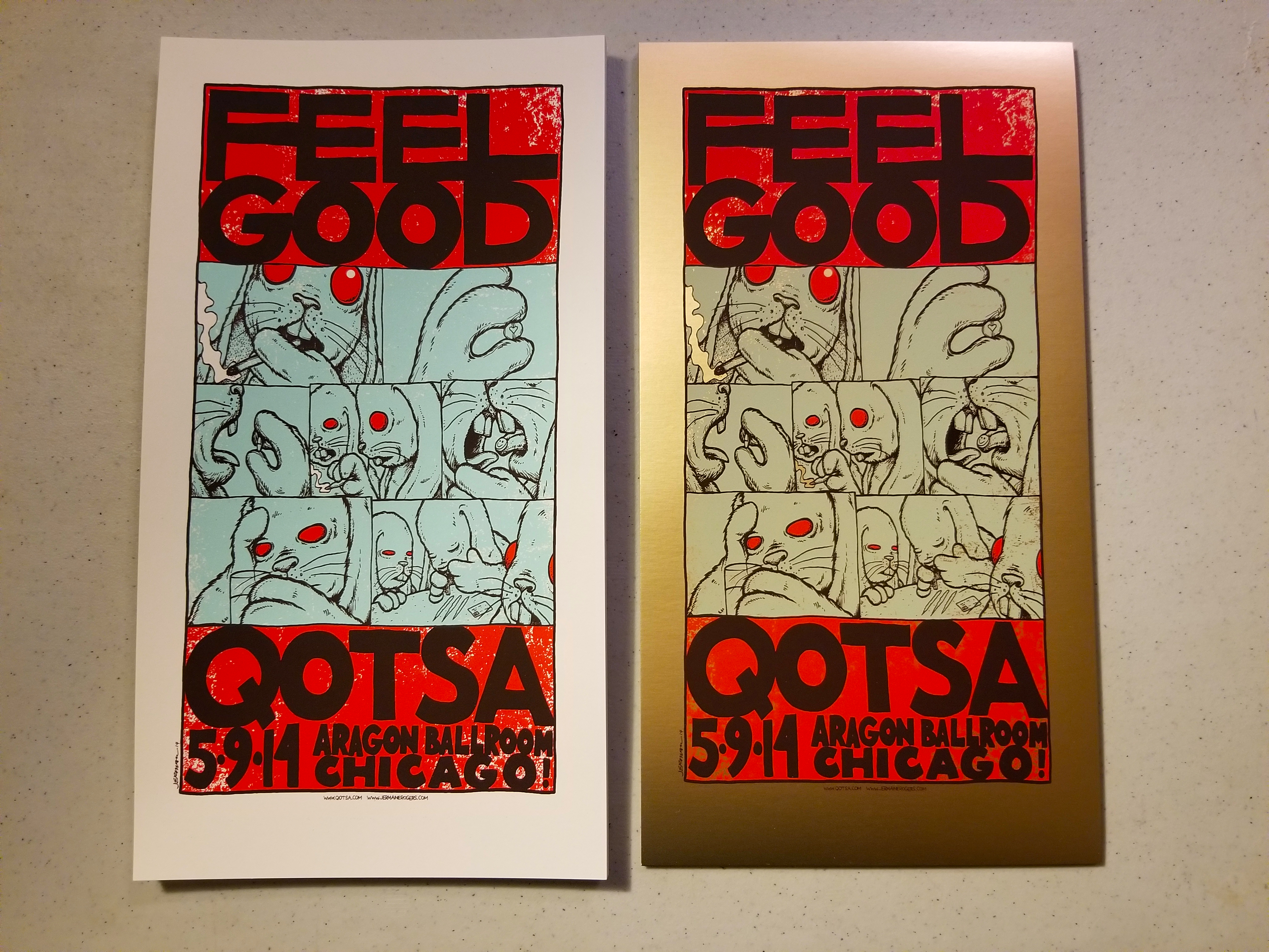 - Queens Of The Stone Age 'FEEL GOOD' (Chicago 2014) Mini Print (White and Gold Foil Variants) -