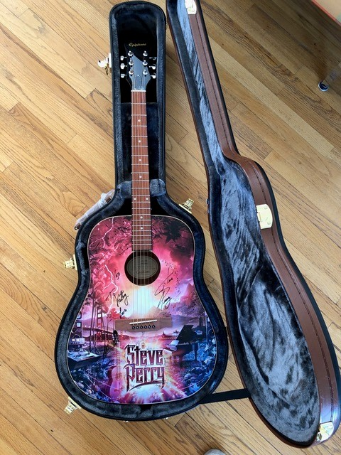 "Signed & Numbered Limited Edition ""Traces Alternate Versions & Sketches"" Guitar (edition of 50) w/ Hard Case + 2 FREE MASKS"