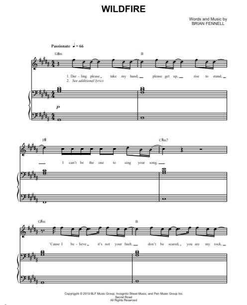 Wildfire - Piano Sheet Music