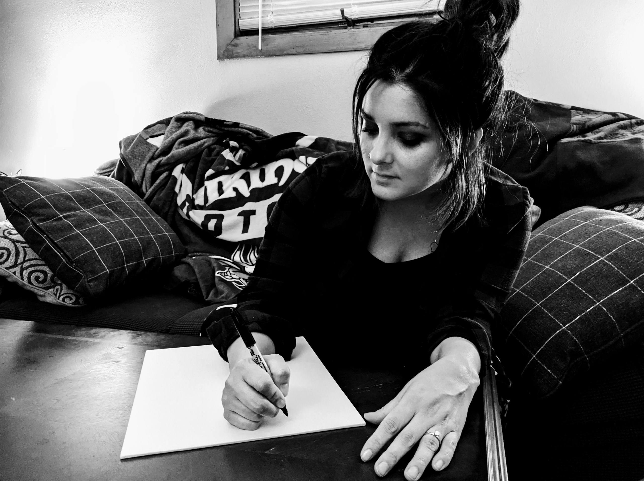 Hand written lyric canvas