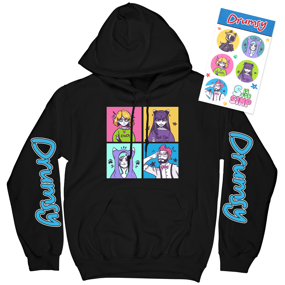 Anime Faces Hoodie + Sticker Sheet