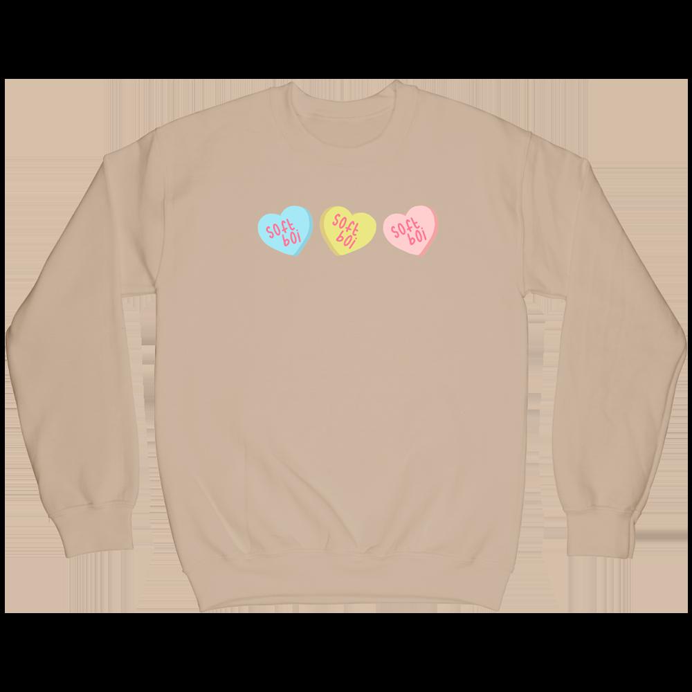 Candy Hearts Crewneck - Sandstone
